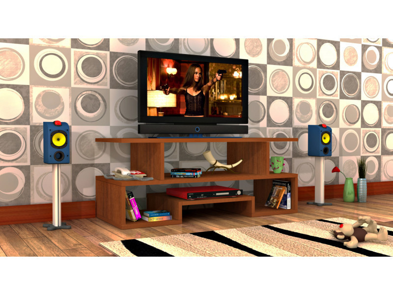 Meuble tv design twist3 motif bois noyer marron clair