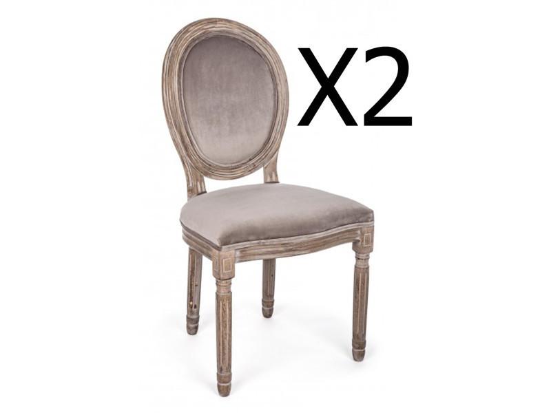 Lot de 2 chaises en bois de bouleau coloris taupe - dim : l 48 x p 46 x h 96 cm -pegane