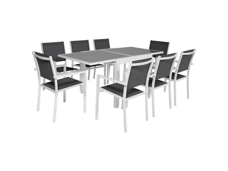 Salon de jardin lampedusa extensible en textilène gris 8 places - aluminium blanc