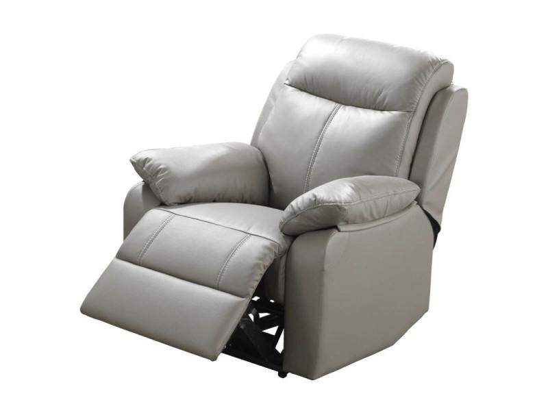 Fauteuil relax électrique cuir gris - vyctoire - l 88 x l 95 x h 101 - neuf
