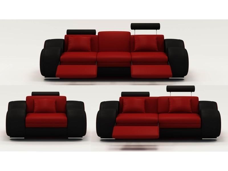 Ensemble cuir relax oslo 3+2+1 places rouge et noir-
