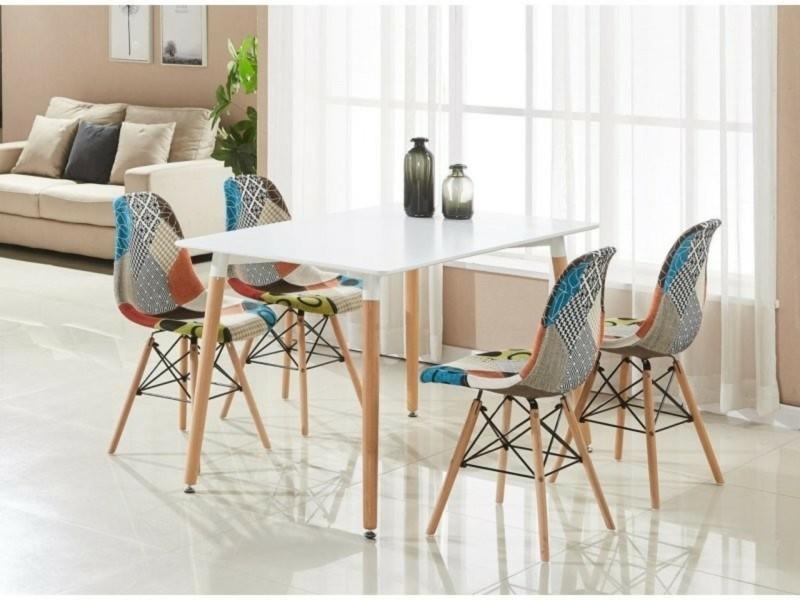 Table Blanche 4 Chaises En Tissu Patchwork Design Scandinave