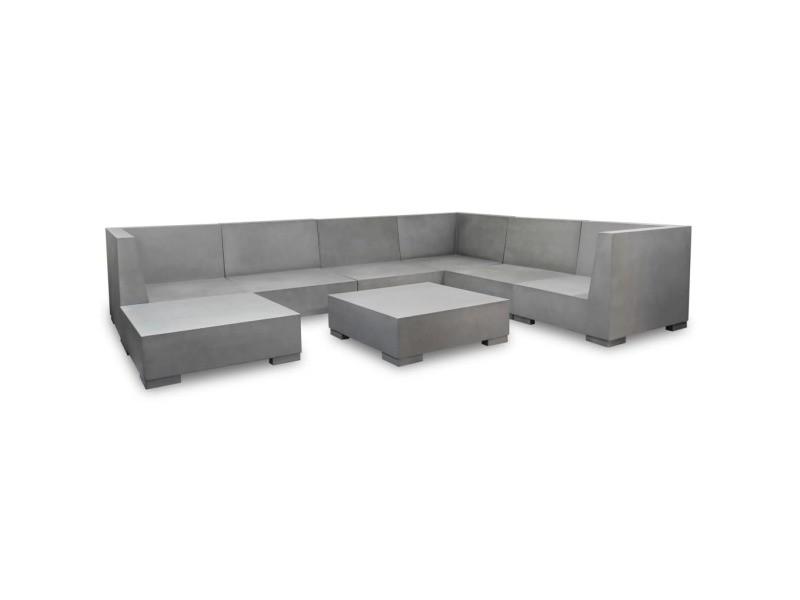 Vidaxl mobilier de jardin 8 pcs avec coussins béton gris ...