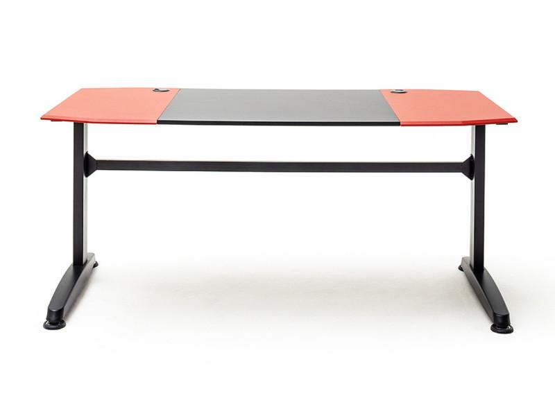 Bureau d'ordinateur / table de jeu coloris noir et rouge - longueur 160 x hauteur 72 x profondeur 70 cm