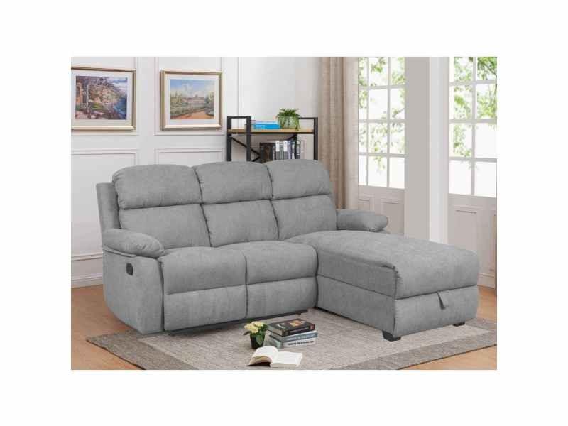 Canapé relax avec méridienne et coffre de rangement en tissu gris keaton - angle droit