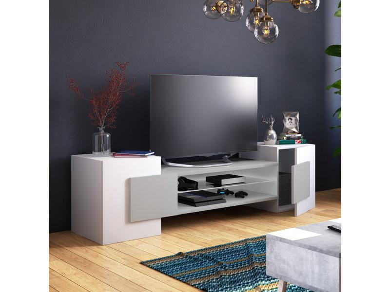 Meuble tv - charles - 160 cm - blanc mat / gris mat