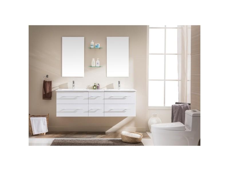 Venus blanc: ensemble salle de bain meuble +2 vasques + 2 miroirs ...