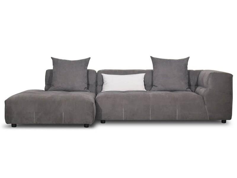 Canapé d'angle gauche en tissu mia - gris souris - gauche - gris