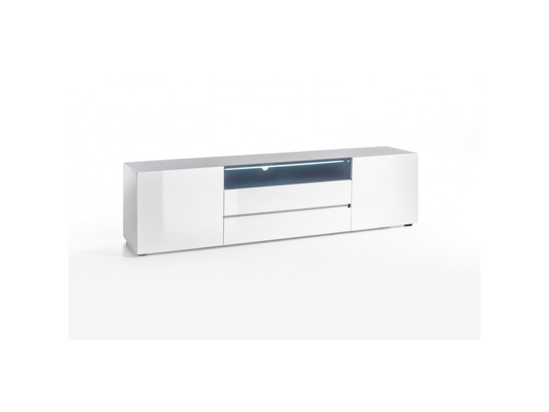 Meuble Tv Moderne Laque Blanc Hortense Coloris Dimensions 203 Cm Vente De Vivabita Conforama