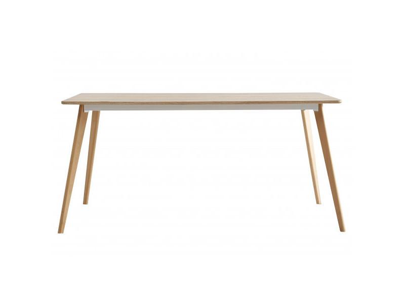 Nina - table repas scandinave plateau décor chêne pied chêne