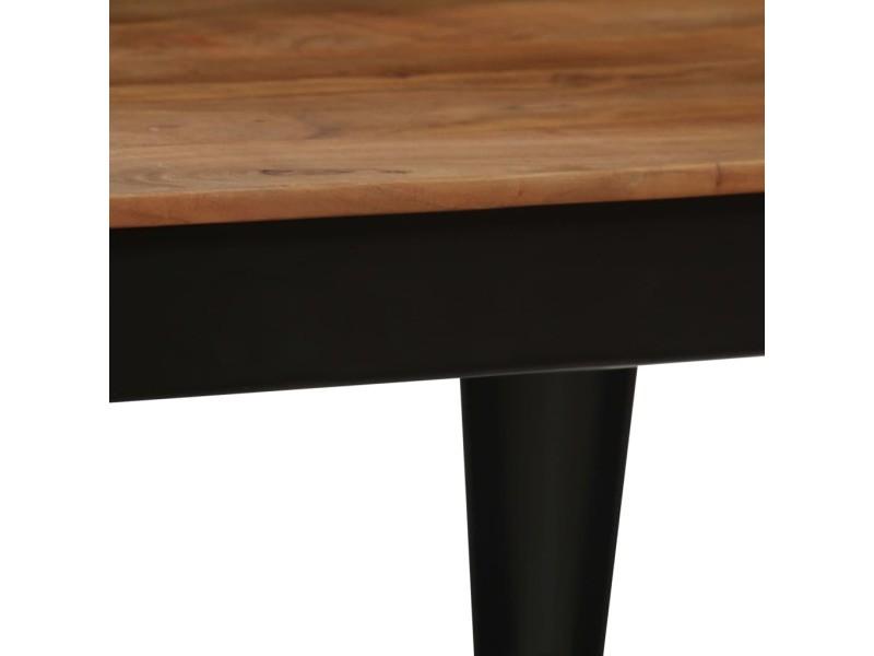 Vidaxl table de salle à manger bois d'acacia et acier 120x60x76 cm 246295