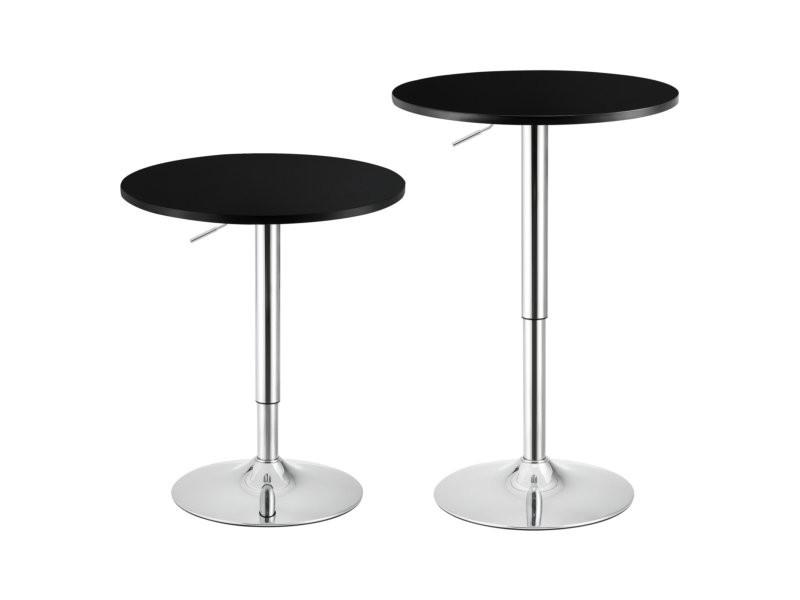 Table de bar ronde bistrot à hauteur réglable mdf diamètre 60 cm noir helloshop26 03_0006214