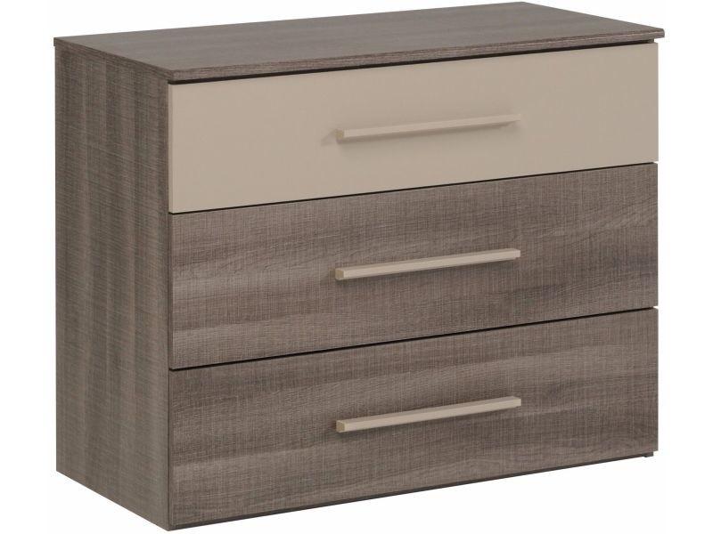 Commode bicolore à 3 tiroirs pour chambre adulte p-6034-co ...