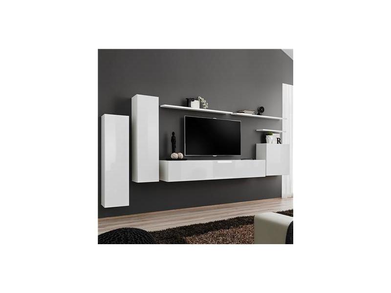 Banc Tv Mural Blanc Laqué Andria 3 Vente De Nouvomeuble Conforama