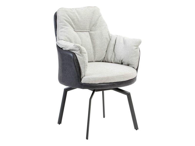 Fleurus - fauteuil tissu gris clair et gris foncé