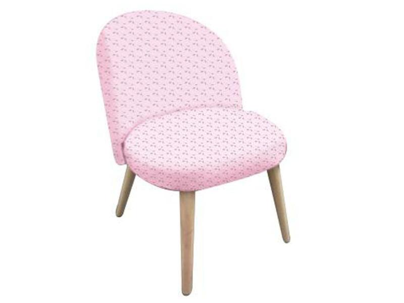 Fauteuil rose en pin et polyester, l 44 x l 47 x h 60 cm -pegane-
