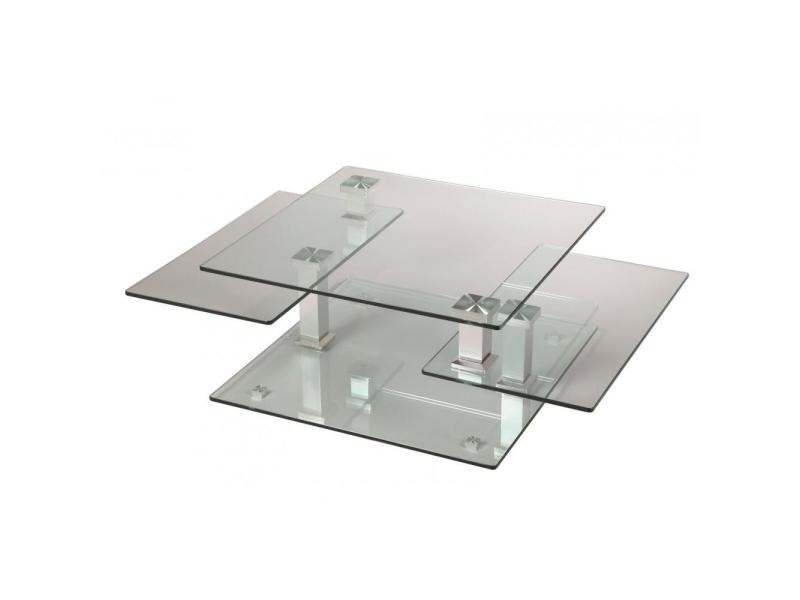 Table basse design cube en verre et piétement acier chromé 20100841331