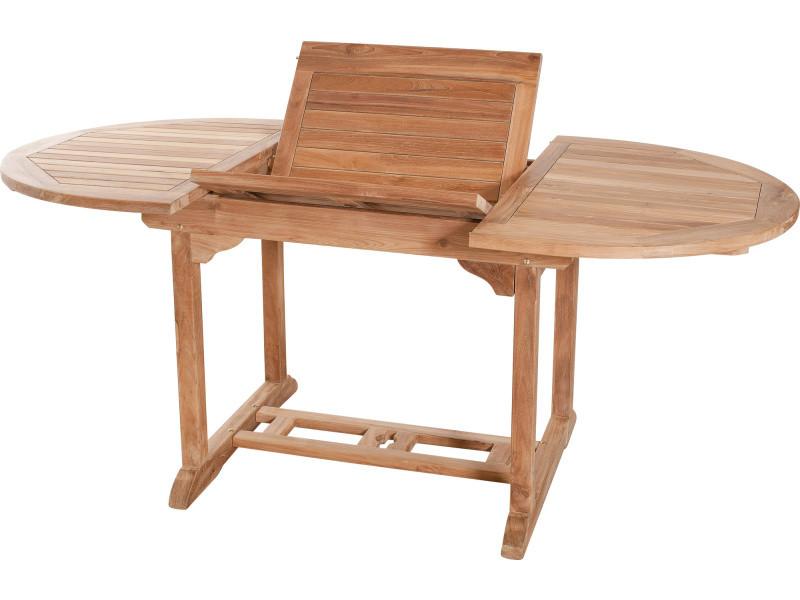 Table de jardin ovale extensible 120 - 180 cm en bois de teck massif ...
