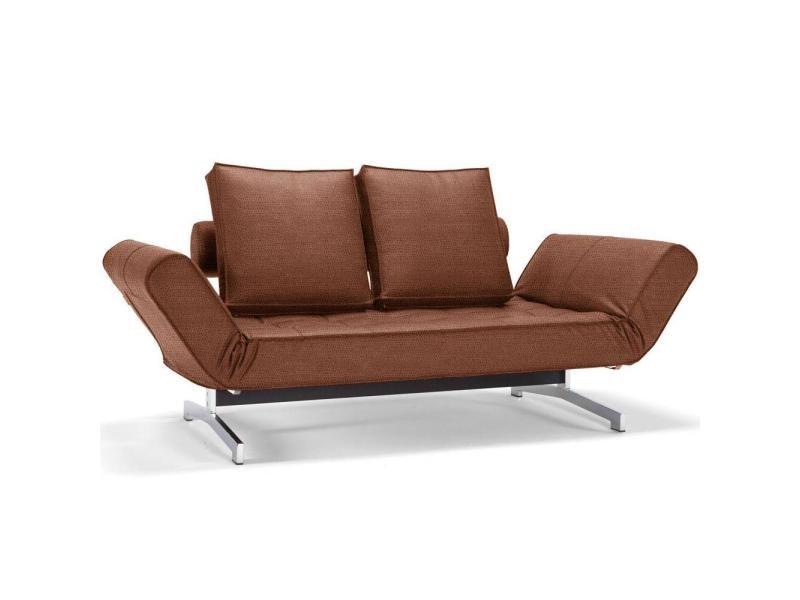 Leather Convertible Ghia Brown Faunal Canapé Lit Design Chrome Look SzMUVp