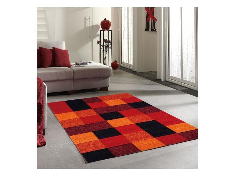 Tapis Salon Moderne Motif Géométrique Brillance Cube Noir Orange