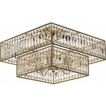 Plafonnier doré en cristal caesar 6 ampoules Vente de