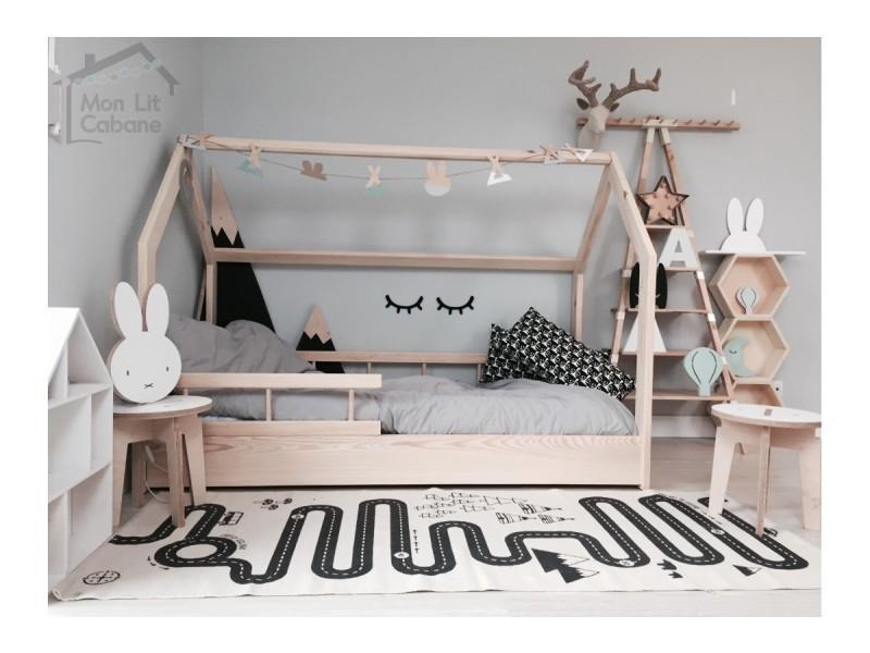 lit cabane h demie barri re 90x190 vente de monlitcabane. Black Bedroom Furniture Sets. Home Design Ideas