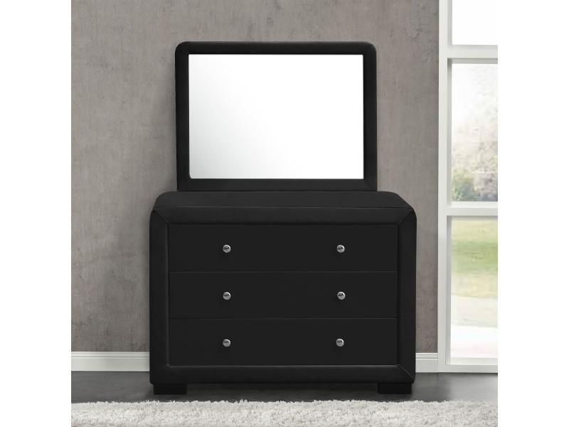 Lucay noir + miroir : commode de chambre 3 tiroirs + 1 miroir en ...