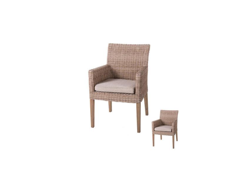 Duo de chaises à accoudoirs rotin naturel - rinca - l 58 x l 63 x h 86 ...