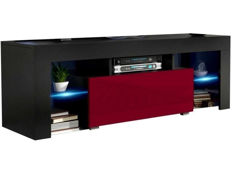 Meuble tv 130 cm corps noir mat et porte laquée bordeaux avec led rgb