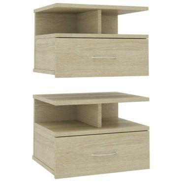 Tables de chevet flottantes 2 pcs Chêne sonoma 40x31x27 cm