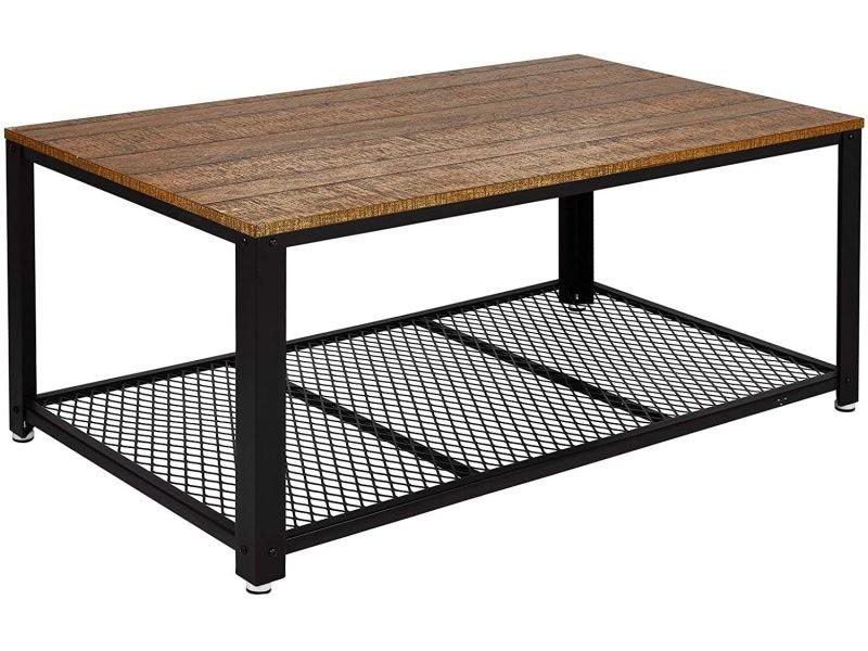 Table basse industrielle table de salon style vintage, industriel, veinure du bois et armature de métal -106 x 60 x 45 cm - meerveil Meerveil