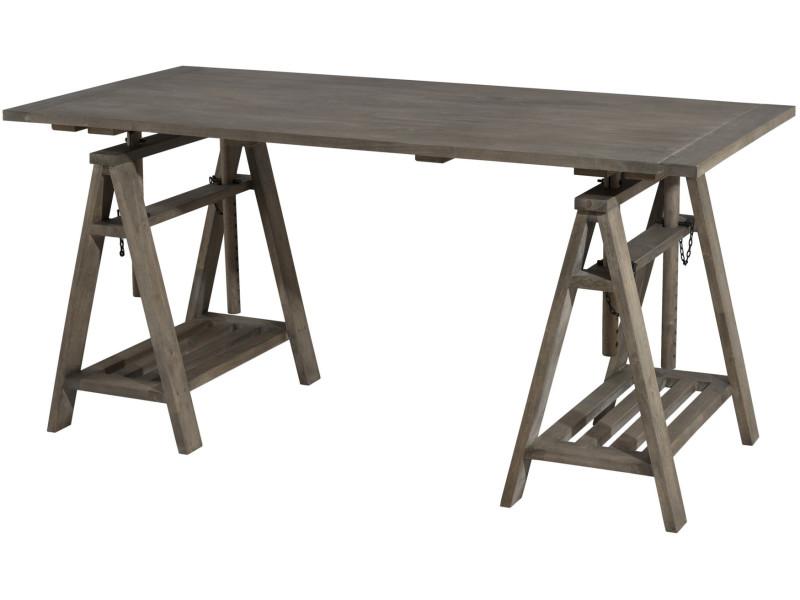 Bureau tréteaux en bois massif hévéa cm p co c bruno