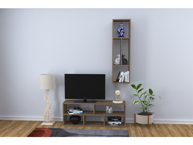 Meuble tv design yapren motif bois noyer marron clair