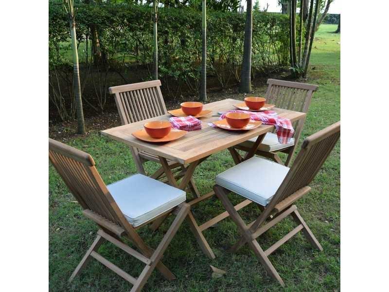 Salon de jardin en teck ecograde makassar, table pliante 120 ...