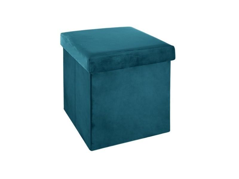 Pouf pliant bleu canard en velours en polyester - 38 x 38 cm -pegane-