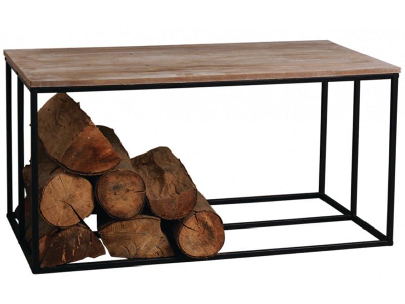 Table basse porte-bûches en métal et bois - 100 x 50 x 50 cm -pegane-