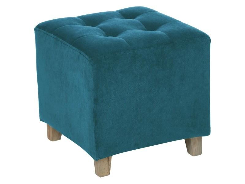 Pouf bleu canard en velours - l. 35 x l. 35 x h. 35 cm -pegane-