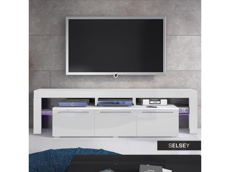 meuble tv / meuble de salon - amieva - 200 cm - blanc mat / blanc