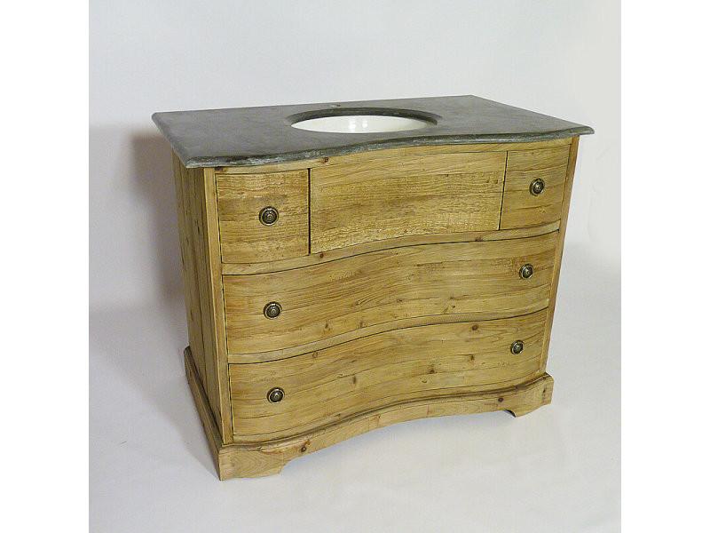 Meuble salle de bain 1 vasque authentiq en vieux pin | kh06 - Vente de Meuble et rangement ...