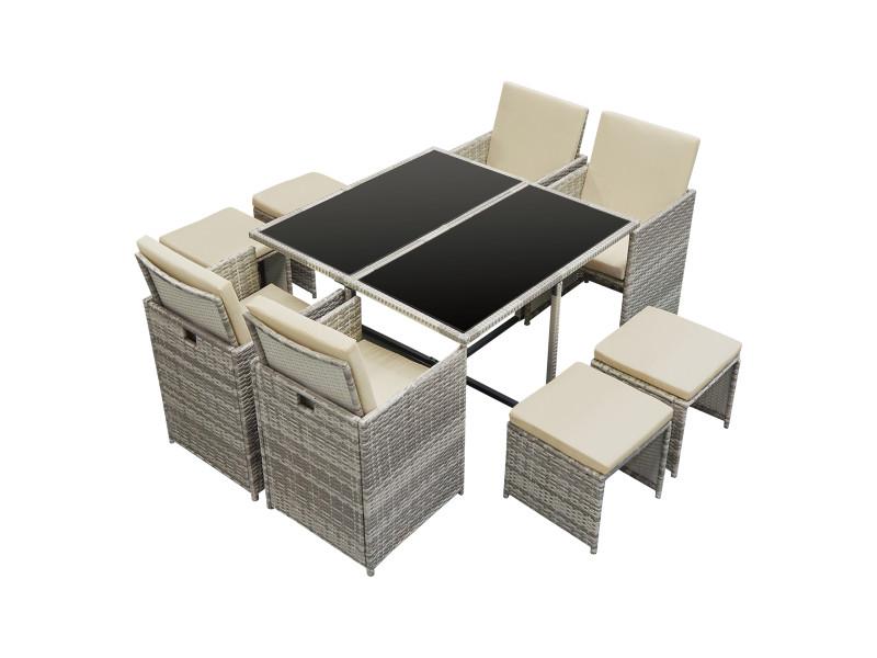 Salon de jardin de 9 pièces ensemble table 4 fauteuils 4 tabourets set de meubles extérieurs acier polyrotin polyester gris chiné avec coussins crème [en.casa]