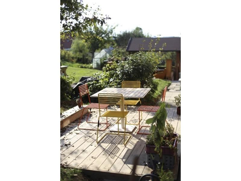 Table de jardin tina egoe carrée 100 cm métal acier blanc et ...