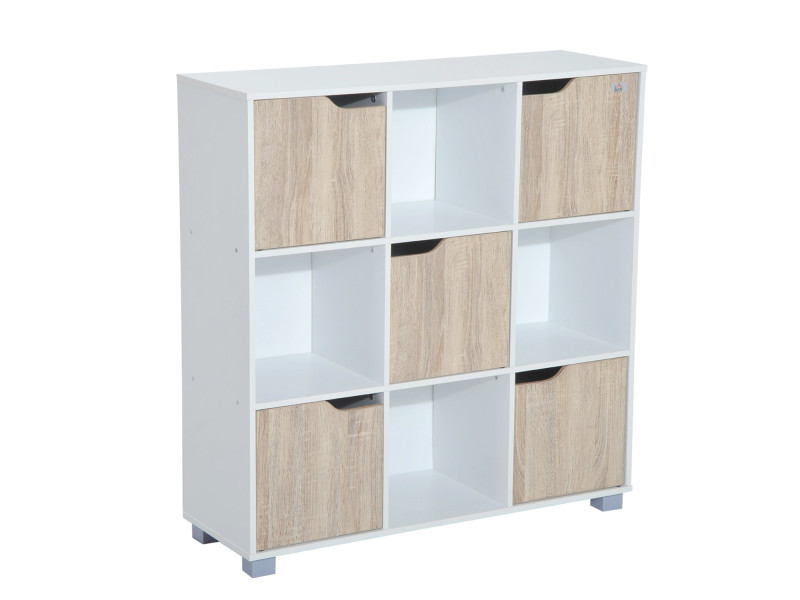 Bibliothèque meuble de rangement bicolore 4 casiers ouverts 5 portes coloris bois de chêne et ...