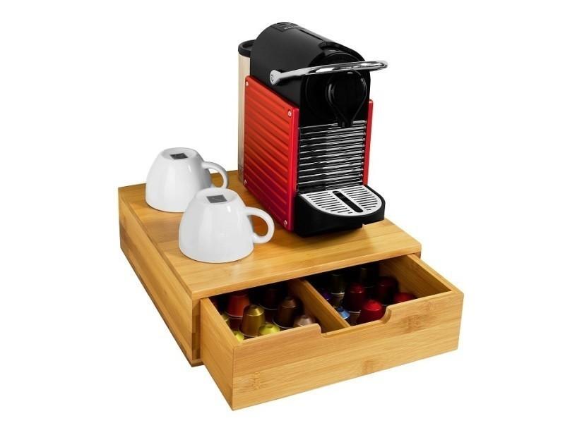 Boîte De Rangement à Tiroirs Pour Capsules De Thé Et Café En Bambou, Boîte  à Capsules De Café, Boîte à Thél30xp31xh9,5cm Sobuy® Frg70 N