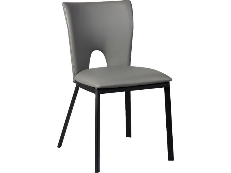 Lot de 2 chaises en acier et polypropylène, coloris gris - dim : l.45 x p.50 x ht.81 x ht ass. 47 cm -pegane-