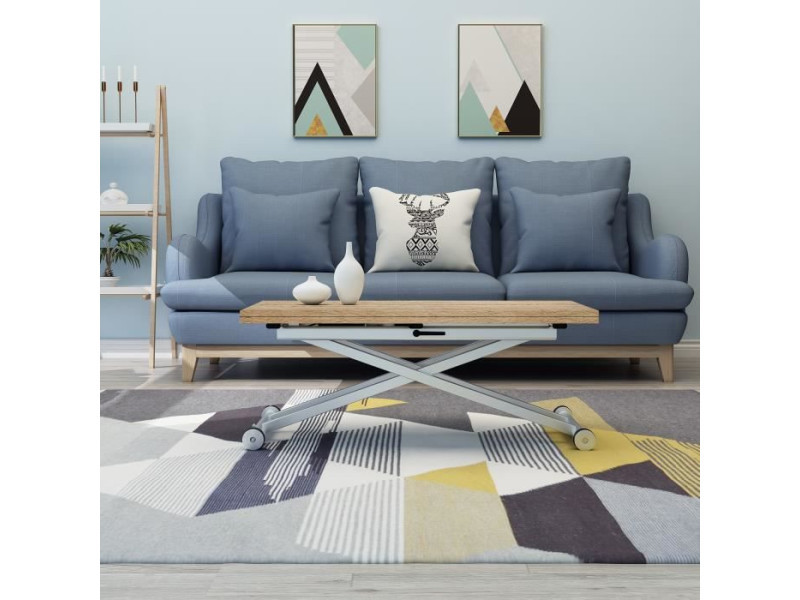 Table basse relevable extensible papier décor chêne naturel domy