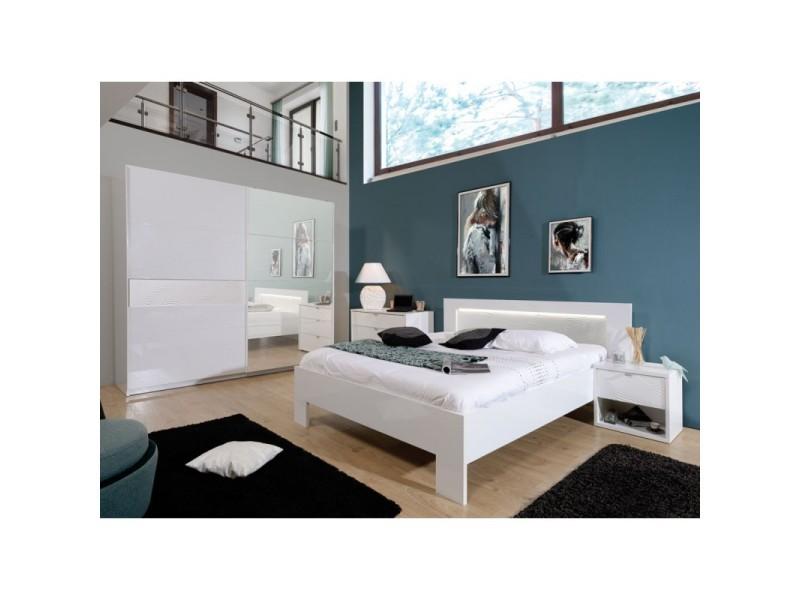 Lit adulte cadre de lit + tête de lit 160*200 laqué blanc - senya - 160 x 200 - Vente de Lit ...