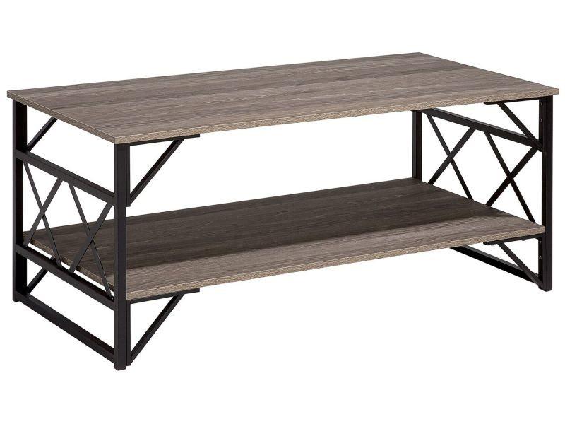 Table basse bois foncé et taupe - bolton 63897