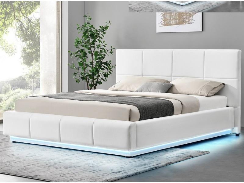 Lit Design Alexi Avec Sommier Et Coffre De Rangement Blanc 140x190 Vente De Lit Adulte Conforama
