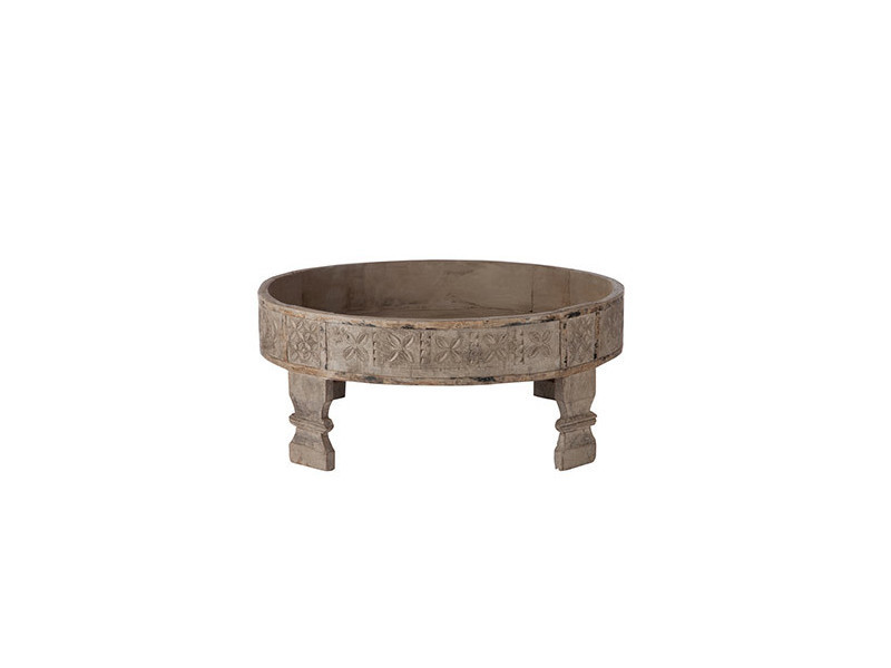 Table basse ronde 60x26cm en bois gris