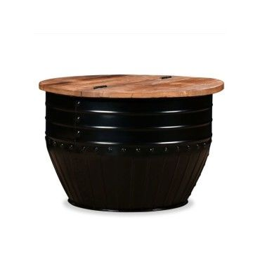 Table Baril vidaxl table basse bois de récupération massif forme baril noir